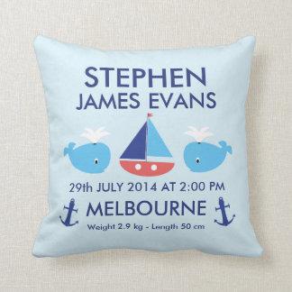 Boys Nautical Birth Commemoration Cushion