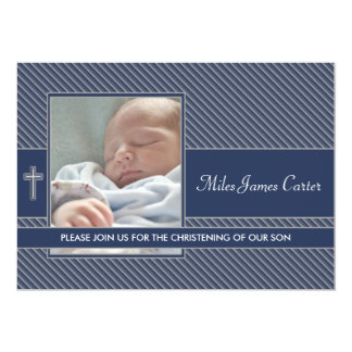 Boys Navy Blue Photo Christening Personalized Announcements