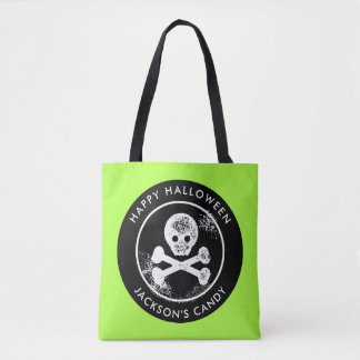 Boys Neon Skull and Cross Bones Halloween Candy Tote Bag