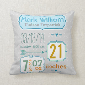 Boy's Nursery Room Baby Stat Arrow Pattern Cushion