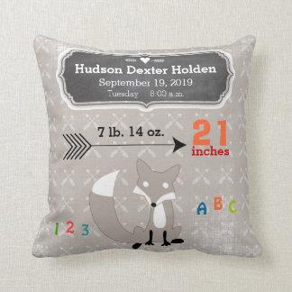 Boy's Nursery Room Baby Stat Fox Arrow Pattern Throw Cushions