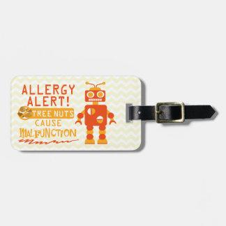 Boys Orange Robot Tree Nut Food Allergy Alert Luggage Tag