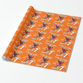 Boys orange your name 7th birthday rockstar wrap gift wrap paper