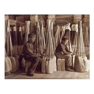 Boys Packing Brooms, 1908 Postcard