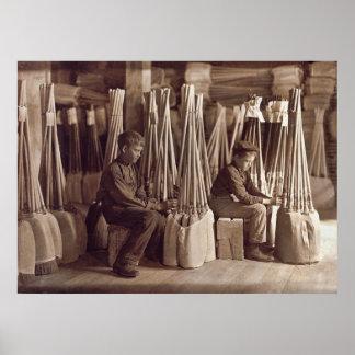 Boys Packing Brooms, 1908 Print
