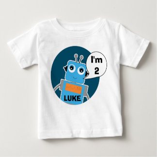 Boy's Personalized 2nd Birthday Robot T-Shirt