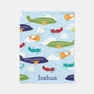Boy's Personalized Aviator Airplanes Fleece Blanket