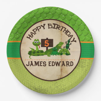 Boys Personalized Reptile Birthday Party Paper Plate