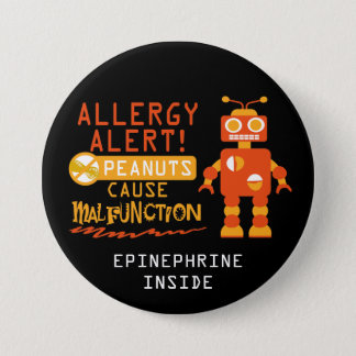 Boys Personalized Robot Peanut Allergy Alert 7.5 Cm Round Badge