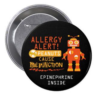 Boys Personalized Robot Peanut Allergy Alert 7.5 Cm Round Badge