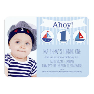 Boys Photo 1st Birthday Invitation Nautical