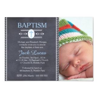 Boys photo Chalkboard Baptism Invitation