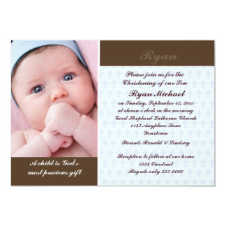 Boys Photo Christening Card