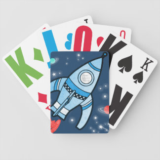 Boys photo space rocket blue playing cards