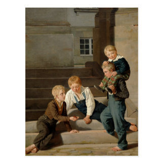 Boys Playing Dice in Front of Christiansborg Postcard