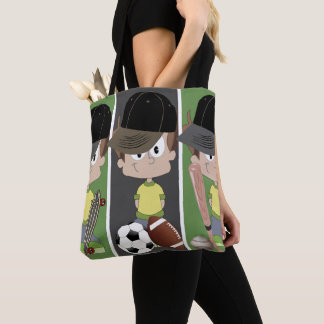 Boys Playing Sports Tote Bag
