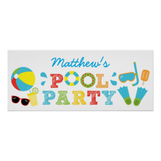 Boys Pool Party Birthday Banner Poster