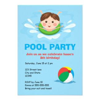 Boys pool party birthday invites - splashing boy
