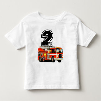 Boys Red Fire Truck 2nd Birthday Toddler T-Shirt