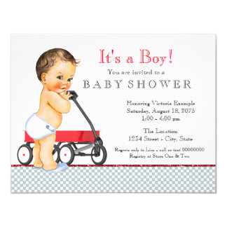Boys Red Wagon Baby Shower 11 Cm X 14 Cm Invitation Card