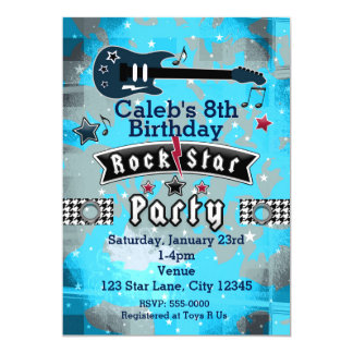 Boys Rock Star Birthday Party Invitations