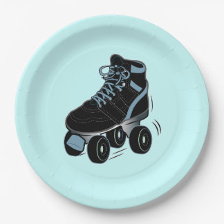 Boy's Roller Skate in Blue 9 Inch Paper Plate