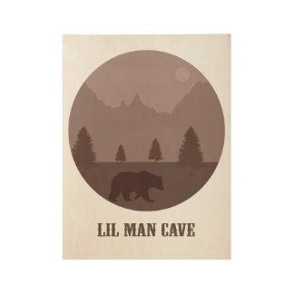 Boys Room Decor Playroom Baby Nursery Bear Cave Wood Poster
