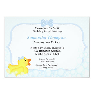 Boys Rubber Ducky Baby Shower Invitations