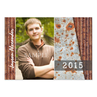 Boys Rusted Metal Two Photo Graduation Party 13 Cm X 18 Cm Invitation Card