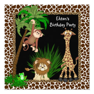 Boys Safari Birthday Party 13 Cm X 13 Cm Square Invitation Card