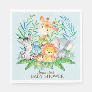Boys Safari Jungle Baby Shower Paper Napkins Disposable Serviette
