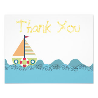 Boys Sail Boat Birthday Thank You Note Cards Custom Invitations