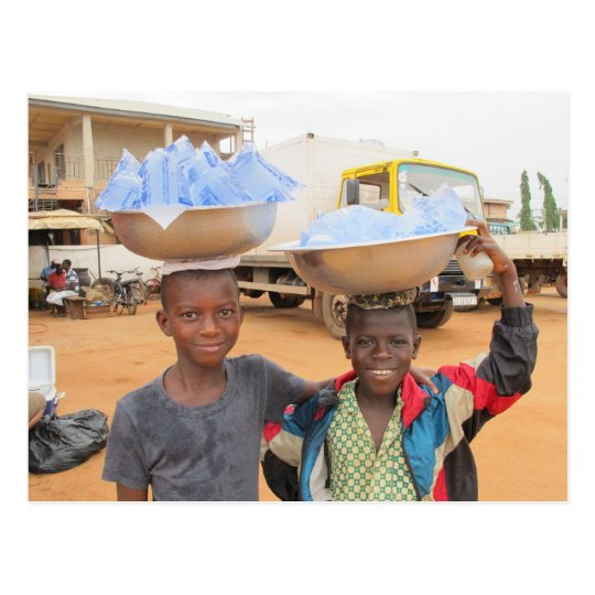 Boys selling sachets of water in Ghana Postcard