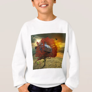 Boy's shirt with to car design stuck in tree