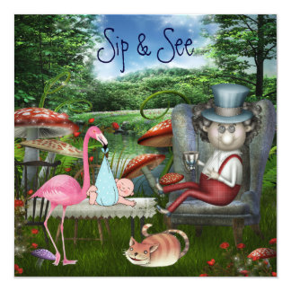 Boy's Sip & See Mad Hatter's Tea Party Baby Shower Custom Announcement