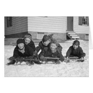 Boys Sledding, 1936 Card