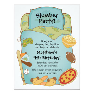 Boys Sleeping Bag Birthday Invitation