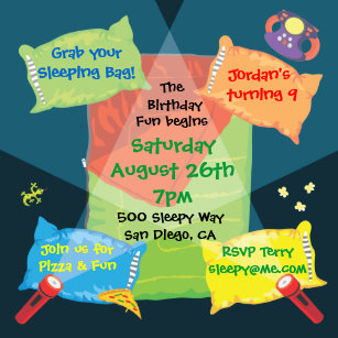 Boys Sleepover Party Invitations Announcements