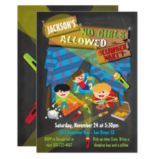Boys Sleepover Slumber Party invitations