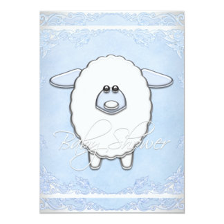 Boys Sweet Blue Sheep Baby Shower Card