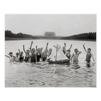 Boys Swimming, 1926. Vintage Photo Poster