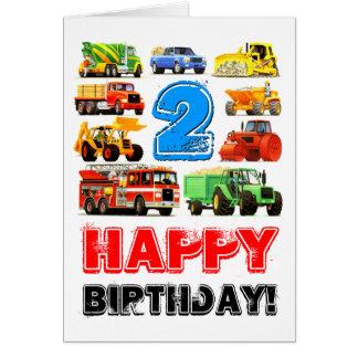 Boy's Toy Truck Happy 2nd Birthday Greeting Card
