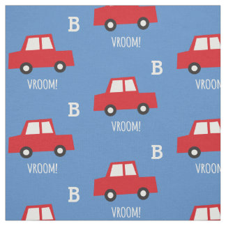 Boys Toys Cute Red Cars Vroom Monogram Kids Fabric