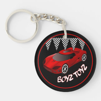 Boys Toys Red Sports Car Acrylic Key Chain Double-Sided Round Acrylic Keychain