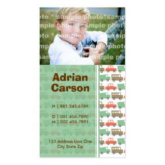 Boys Toys Retro Cars Mom + Dad Custom Profile Card Business Card