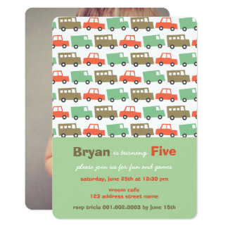 Boys Toys Retro Kid's Photo Birthday Invitation