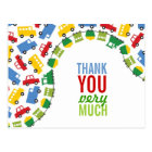 Boys Toys Transport Car Train Bus Truck Thank You Postcard