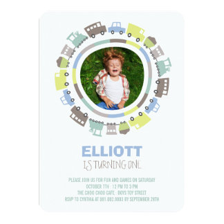 Boys Toys Transport Photo 1st Birthday Party 4.5x6.25 Paper Invitation Card