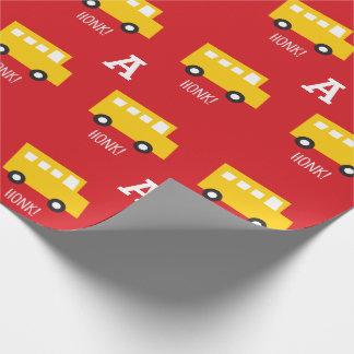 Boys Toys Transport Yellow Bus Monogram Birthday Wrapping Paper
