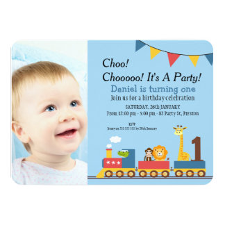 Boys Train 1st Birthday Party Invitation